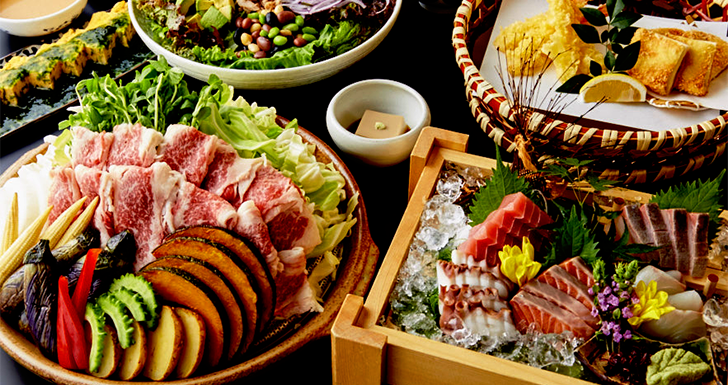 夏野菜と<br>牛バラ肉の陶板
